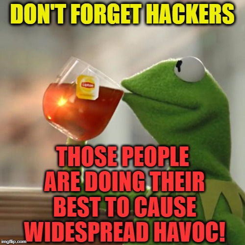 But Thats None Of My Business Meme | DON'T FORGET HACKERS THOSE PEOPLE ARE DOING THEIR BEST TO CAUSE WIDESPREAD HAVOC! | image tagged in memes,but thats none of my business,kermit the frog | made w/ Imgflip meme maker