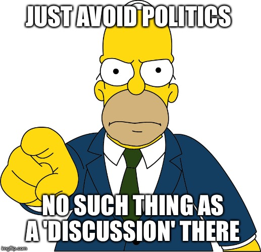 JUST AVOID POLITICS NO SUCH THING AS A 'DISCUSSION' THERE | made w/ Imgflip meme maker