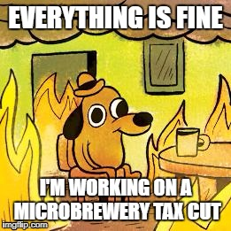 Dog in burning house | EVERYTHING IS FINE I'M WORKING ON A MICROBREWERY TAX CUT | image tagged in dog in burning house | made w/ Imgflip meme maker