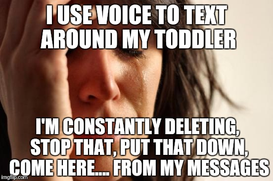 Have a great day! Cut that out! | I USE VOICE TO TEXT AROUND MY TODDLER I'M CONSTANTLY DELETING, STOP THAT, PUT THAT DOWN, COME HERE.... FROM MY MESSAGES | image tagged in memes,first world problems,toddlers | made w/ Imgflip meme maker