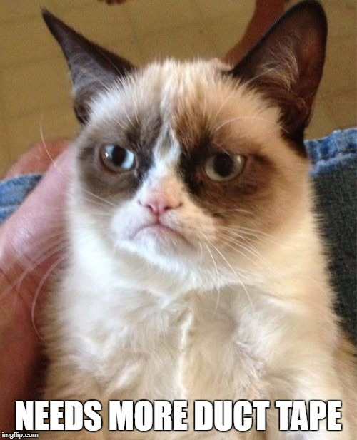 Grumpy Cat Meme | NEEDS MORE DUCT TAPE | image tagged in memes,grumpy cat | made w/ Imgflip meme maker