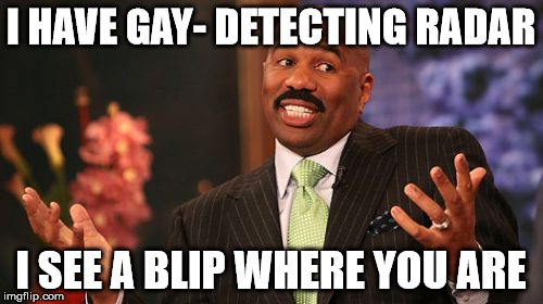 Steve Harvey Meme | I HAVE GAY- DETECTING RADAR I SEE A BLIP WHERE YOU ARE | image tagged in memes,steve harvey | made w/ Imgflip meme maker