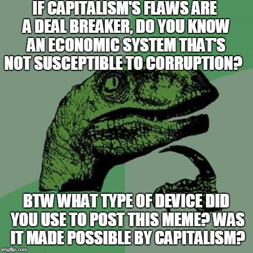 Philosoraptor Meme | IF CAPITALISM'S FLAWS ARE A DEAL BREAKER, DO YOU KNOW AN ECONOMIC SYSTEM THAT'S NOT SUSCEPTIBLE TO CORRUPTION? BTW WHAT TYPE OF DEVICE DID Y | image tagged in memes,philosoraptor | made w/ Imgflip meme maker