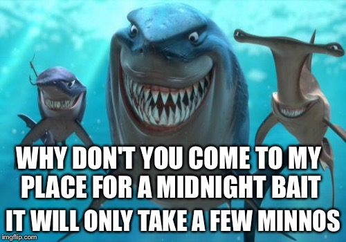 WHY DON'T YOU COME TO MY PLACE FOR A MIDNIGHT BAIT IT WILL ONLY TAKE A FEW MINNOS | made w/ Imgflip meme maker