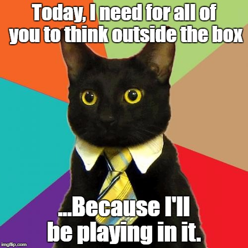 Business Cat Meme | Today, I need for all of you to think outside the box ...Because I'll be playing in it. | image tagged in memes,business cat | made w/ Imgflip meme maker