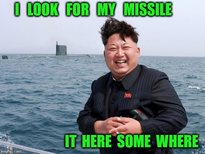 I   LOOK   FOR   MY   MISSILE IT  HERE  SOME  WHERE | image tagged in north korea | made w/ Imgflip meme maker