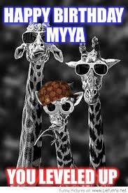 Julie's giraffes | HAPPY BIRTHDAY MYYA YOU LEVELED UP | image tagged in julie's giraffes,scumbag | made w/ Imgflip meme maker