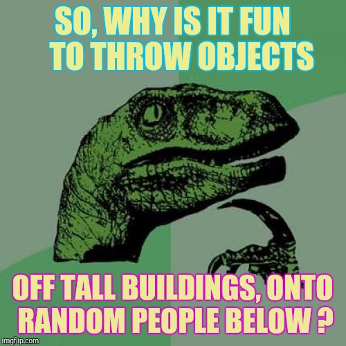 YEAH, That's IT!  Distribution Of Wealth | SO, WHY IS IT FUN   TO THROW OBJECTS OFF TALL BUILDINGS, ONTO RANDOM PEOPLE BELOW ? | image tagged in memes,philosoraptor | made w/ Imgflip meme maker
