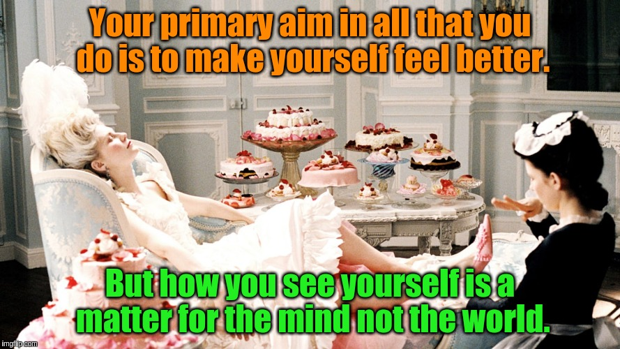 Why we do what we do | Your primary aim in all that you do is to make yourself feel better. But how you see yourself is a matter for the mind not the world. | image tagged in why we do what we do,acim,mind,actions,motivation | made w/ Imgflip meme maker