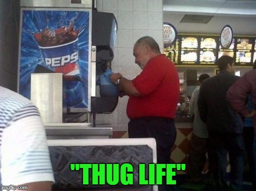 "Hey...they said ""free refills""... 