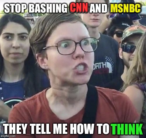 Triggered feminist | STOP BASHING CNN AND MSNBC THEY TELL ME HOW TO THINK CNN MSNBC THINK | image tagged in triggered feminist | made w/ Imgflip meme maker