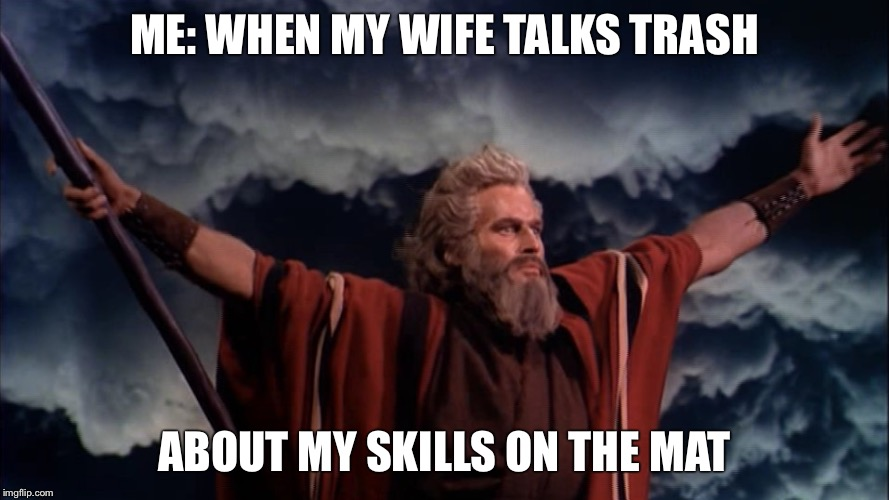 Ten Commandments |  ME: WHEN MY WIFE TALKS TRASH; ABOUT MY SKILLS ON THE MAT | image tagged in ten commandments | made w/ Imgflip meme maker