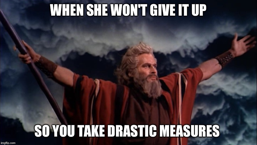 Ten Commandments |  WHEN SHE WON'T GIVE IT UP; SO YOU TAKE DRASTIC MEASURES | image tagged in ten commandments | made w/ Imgflip meme maker