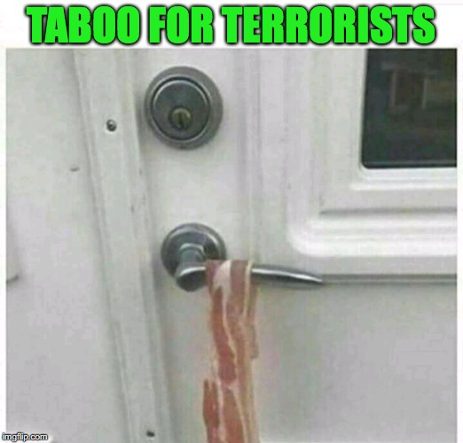 Home Security | TABOO FOR TERRORISTS | image tagged in islamic terrorism,bacon,homeland security | made w/ Imgflip meme maker
