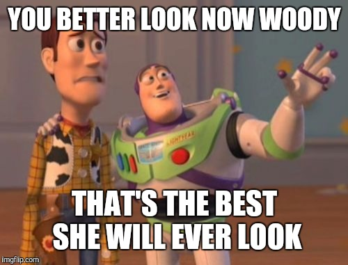 X, X Everywhere Meme | YOU BETTER LOOK NOW WOODY THAT'S THE BEST SHE WILL EVER LOOK | image tagged in memes,x,x everywhere,x x everywhere | made w/ Imgflip meme maker