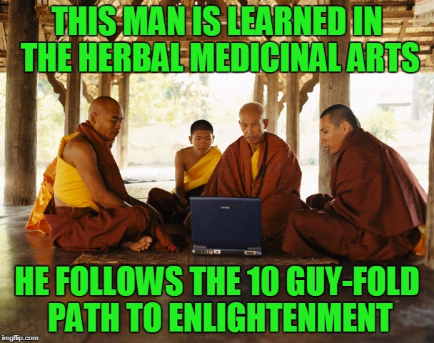 whoa, like I need some of those robes, dudes | THIS MAN IS LEARNED IN THE HERBAL MEDICINAL ARTS HE FOLLOWS THE 10 GUY-FOLD PATH TO ENLIGHTENMENT | image tagged in monks memeing,memes,monks,10 guy | made w/ Imgflip meme maker