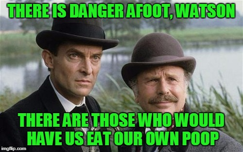 THERE IS DANGER AFOOT, WATSON THERE ARE THOSE WHO WOULD HAVE US EAT OUR OWN POOP | made w/ Imgflip meme maker