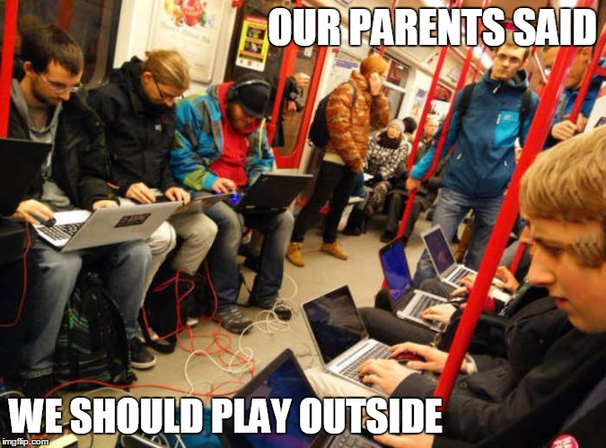 Sun is shining kids. Go and play outside! | OUR PARENTS SAID WE SHOULD PLAY OUTSIDE | image tagged in nerds in subway,memes,funny,play outside | made w/ Imgflip meme maker