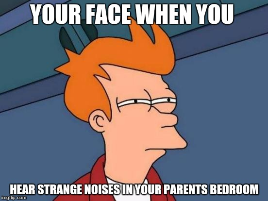 Futurama Fry Meme | YOUR FACE WHEN YOU HEAR STRANGE NOISES IN YOUR PARENTS BEDROOM | image tagged in memes,futurama fry | made w/ Imgflip meme maker