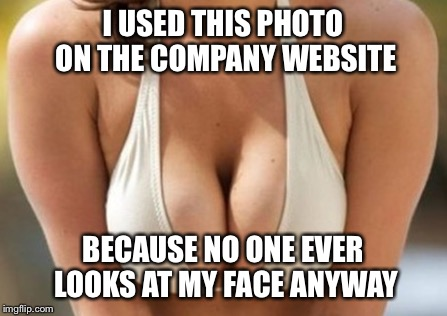 I USED THIS PHOTO ON THE COMPANY WEBSITE BECAUSE NO ONE EVER LOOKS AT MY FACE ANYWAY | image tagged in memes,funny,cleavage | made w/ Imgflip meme maker