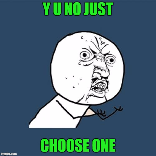 Y U No Meme | Y U NO JUST CHOOSE ONE | image tagged in memes,y u no | made w/ Imgflip meme maker