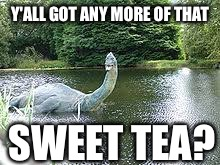 Y'ALL GOT ANY MORE OF THAT SWEET TEA? | image tagged in nessie want's tea | made w/ Imgflip meme maker