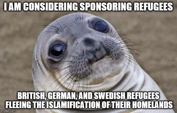 help when it is needed | I AM CONSIDERING SPONSORING REFUGEES BRITISH, GERMAN, AND SWEDISH REFUGEES FLEEING THE ISLAMIFICATION OF THEIR HOMELANDS | image tagged in memes,awkward moment sealion,radical islam,politics,islam | made w/ Imgflip meme maker