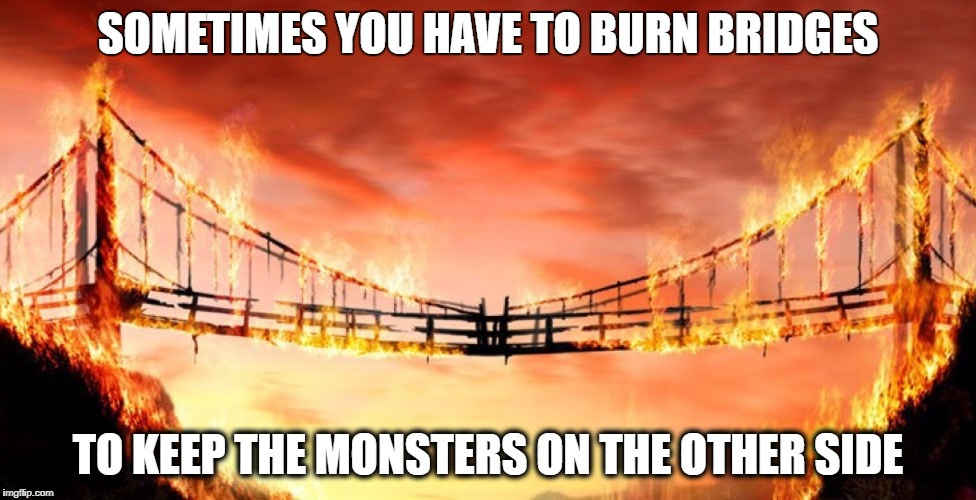 SOMETIMES YOU HAVE TO BURN BRIDGES TO KEEP THE MONSTERS ON THE OTHER SIDE | image tagged in burning bridges | made w/ Imgflip meme maker