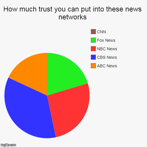 How much trust you can put into these news networks | ABC News, CBS News, NBC News, Fox News, CNN | image tagged in funny,pie charts | made w/ Imgflip pie chart maker