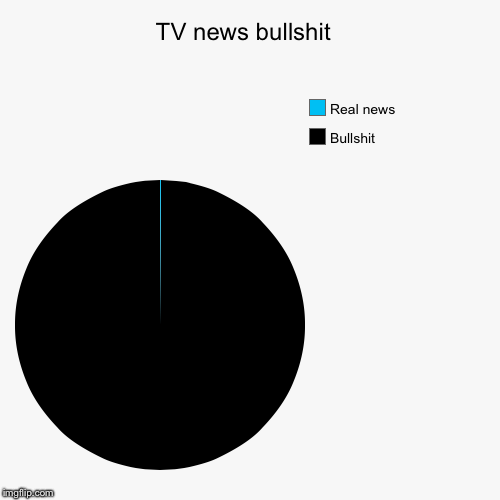 TV news bullshit  | Bullshit, Real news | image tagged in funny,pie charts | made w/ Imgflip pie chart maker