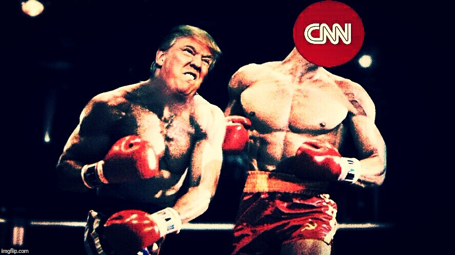 Got'em with the left hook. | image tagged in donald trump,cnn | made w/ Imgflip meme maker