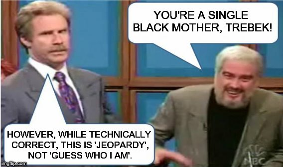 YOU'RE A SINGLE BLACK MOTHER, TREBEK! HOWEVER, WHILE TECHNICALLY CORRECT, THIS IS 'JEOPARDY', NOT 'GUESS WHO I AM'. | made w/ Imgflip meme maker