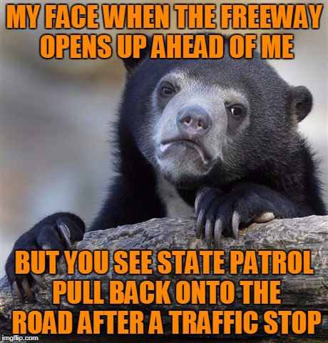 ...but Sport Mode was already engaged :( | MY FACE WHEN THE FREEWAY OPENS UP AHEAD OF ME BUT YOU SEE STATE PATROL PULL BACK ONTO THE ROAD AFTER A TRAFFIC STOP | image tagged in memes,confession bear,eat me dust,5-0,got up to 136 in the past before i lost my nerve to push it | made w/ Imgflip meme maker