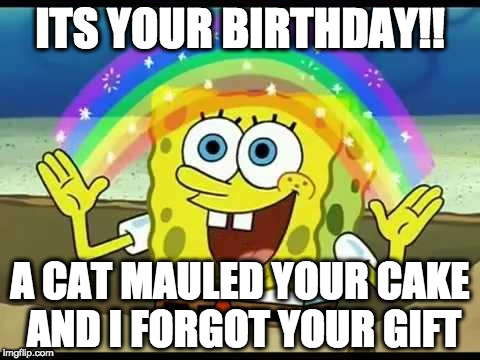 spongebob imagination | ITS YOUR BIRTHDAY!! A CAT MAULED YOUR CAKE AND I FORGOT YOUR GIFT | image tagged in spongebob imagination | made w/ Imgflip meme maker
