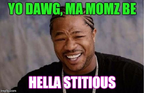 Yo Dawg Heard You Meme | YO DAWG, MA MOMZ BE HELLA STITIOUS | image tagged in memes,yo dawg heard you | made w/ Imgflip meme maker