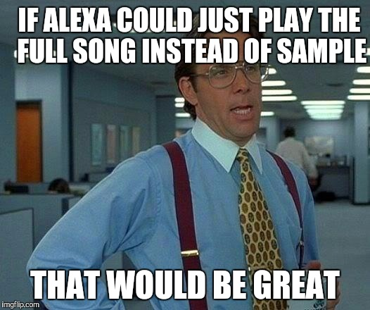 That Would Be Great Meme | IF ALEXA COULD JUST PLAY THE FULL SONG INSTEAD OF SAMPLE THAT WOULD BE GREAT | image tagged in memes,that would be great | made w/ Imgflip meme maker