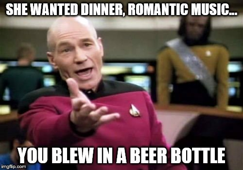 Picard Wtf Meme | SHE WANTED DINNER, ROMANTIC MUSIC... YOU BLEW IN A BEER BOTTLE | image tagged in memes,picard wtf | made w/ Imgflip meme maker