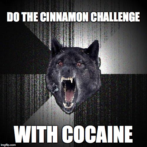 Insanity Wolf Meme | DO THE CINNAMON CHALLENGE WITH COCAINE | image tagged in memes,insanity wolf | made w/ Imgflip meme maker