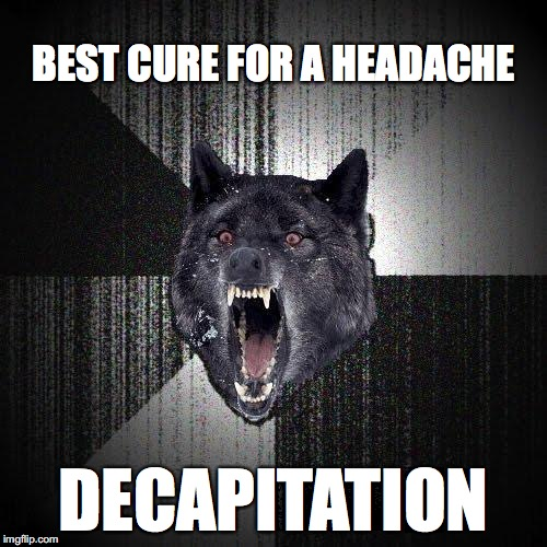 Insanity Wolf Meme | BEST CURE FOR A HEADACHE DECAPITATION | image tagged in memes,insanity wolf | made w/ Imgflip meme maker