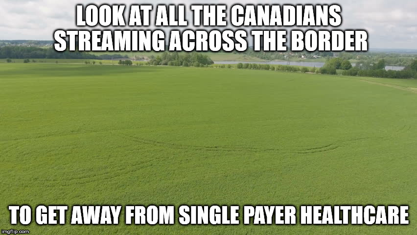 LOOK AT ALL THE CANADIANS STREAMING ACROSS THE BORDER TO GET AWAY FROM SINGLE PAYER HEALTHCARE | image tagged in single payer,your argument is moot | made w/ Imgflip meme maker