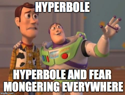 X, X Everywhere Meme | HYPERBOLE HYPERBOLE AND FEAR MONGERING EVERYWHERE | image tagged in memes,x,x everywhere,x x everywhere | made w/ Imgflip meme maker