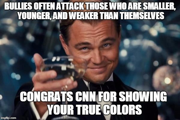 Leonardo Dicaprio Cheers Meme | BULLIES OFTEN ATTACK THOSE WHO ARE SMALLER, YOUNGER, AND WEAKER THAN THEMSELVES CONGRATS CNN FOR SHOWING YOUR TRUE COLORS | image tagged in memes,leonardo dicaprio cheers | made w/ Imgflip meme maker