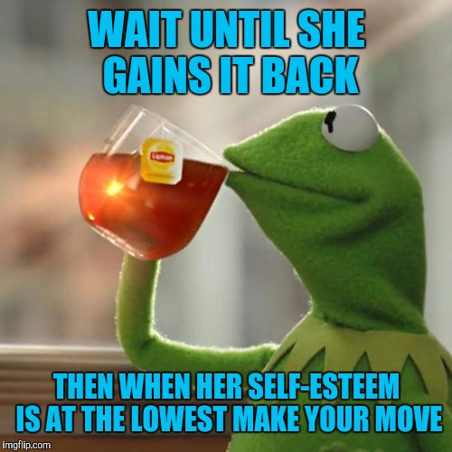 But Thats None Of My Business Meme | WAIT UNTIL SHE GAINS IT BACK THEN WHEN HER SELF-ESTEEM IS AT THE LOWEST MAKE YOUR MOVE | image tagged in memes,but thats none of my business,kermit the frog | made w/ Imgflip meme maker