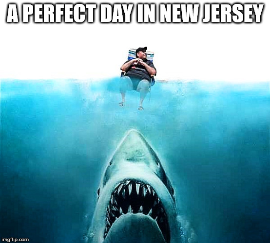 Chris Christie | A PERFECT DAY IN NEW JERSEY | image tagged in shark week,chris christie,jaws,asshole | made w/ Imgflip meme maker