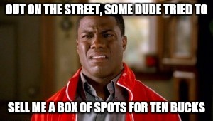 Memes, disgusted | OUT ON THE STREET, SOME DUDE TRIED TO SELL ME A BOX OF SPOTS FOR TEN BUCKS | image tagged in memes,disgusted | made w/ Imgflip meme maker