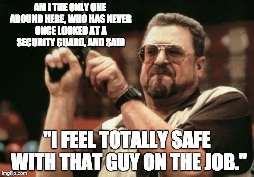 "Am I The Only One Around Here Meme | AM I THE ONLY ONE AROUND HERE, WHO HAS NEVER ONCE LOOKED AT A SECURITY GUARD, AND SAID ""I FEEL TOTALLY SAFE WITH THAT GUY ON THE JOB."" 
