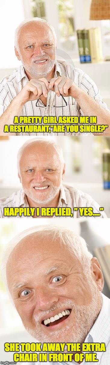 "Hide the pun Harold | A PRETTY GIRL ASKED ME IN A RESTAURANT,""ARE YOU SINGLE?"" SHE TOOK AWAY THE EXTRA CHAIR IN FRONT OF ME. HAPPILY I REPLIED, "" YES…."" 