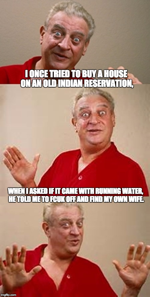 bad pun Dangerfield  | I ONCE TRIED TO BUY A HOUSE ON AN OLD INDIAN RESERVATION, WHEN I ASKED IF IT CAME WITH RUNNING WATER, HE TOLD ME TO FCUK OFF AND FIND MY OWN | image tagged in bad pun dangerfield | made w/ Imgflip meme maker