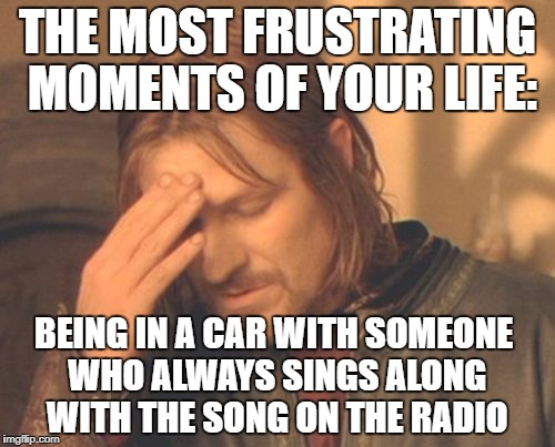Frustrated Boromir Meme | THE MOST FRUSTRATING MOMENTS OF YOUR LIFE: BEING IN A CAR WITH SOMEONE WHO ALWAYS SINGS ALONG WITH THE SONG ON THE RADIO | image tagged in memes,frustrated boromir | made w/ Imgflip meme maker