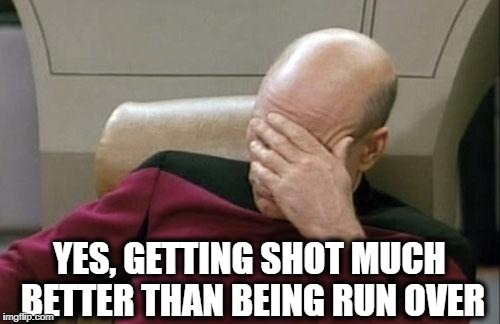 Captain Picard Facepalm Meme | YES, GETTING SHOT MUCH BETTER THAN BEING RUN OVER | image tagged in memes,captain picard facepalm | made w/ Imgflip meme maker